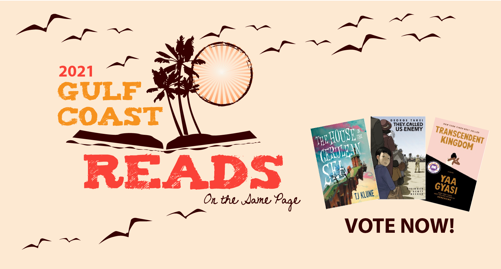Gulf Coast Reads Graphic with Palm Trees, Sun and Seagulls along with book covers of finalists