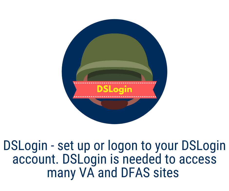 DSLogin- Set up or log on to your DSLogin account. DSLogin is needed to access many VA and DFAS sites and to update health insurance information in DEERS. Can be set up manually or used with CAC card.