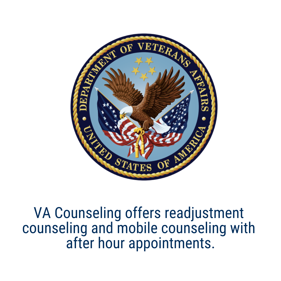 VA Counseling offers readjustment  counseling and mobile counseling with  after hour appointments.