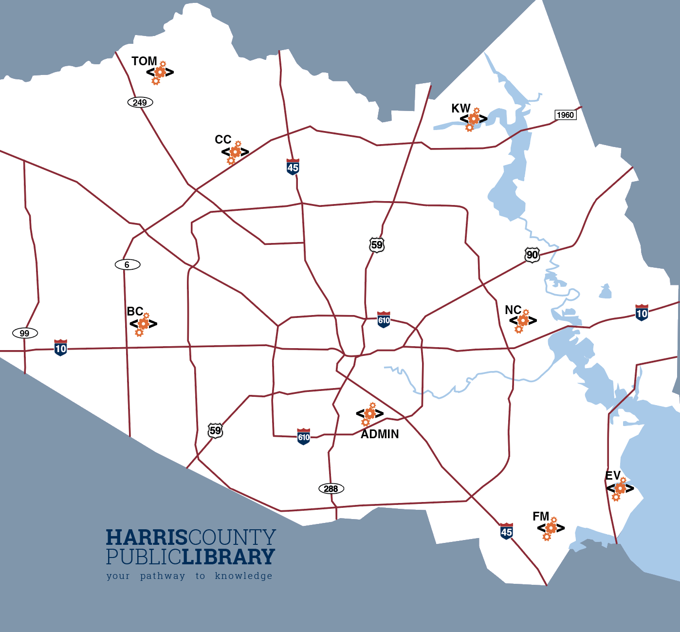 Map of HCPL Maker Lab Locations