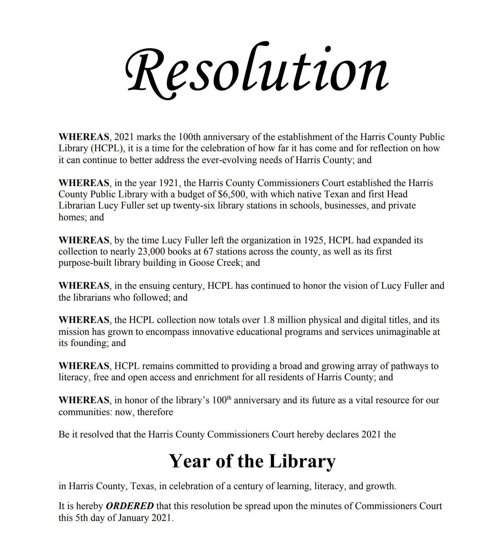 Facsimile image of Harris County Commissioners Court Year of the Library Resolution