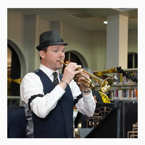 Cornetist from Boomtown Brass Band performing Jan. 20, 2021 at La Porte Community Library for Centennial Kick-Off Celebration