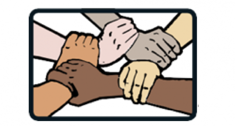 drawing of four hands of different skin tones grasping each wrist to form a square