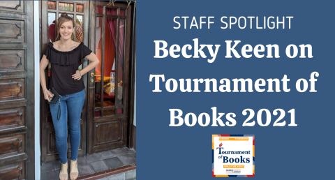Becky standing in front of a door with Tournament of Books graphic to the side