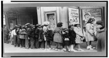 children stand outside movie theatres 1930s